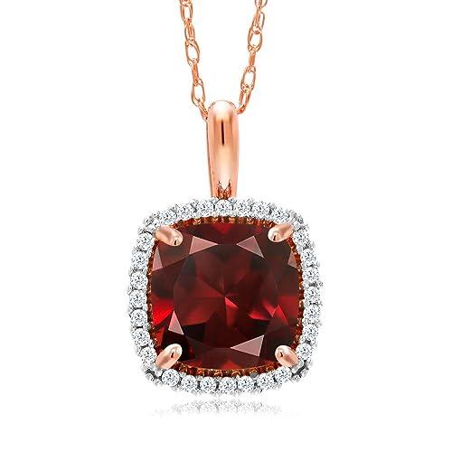 e661bbcf37df9 Gem Stone King 10K Rose Gold Red Garnet and White Diamond Pendant ...