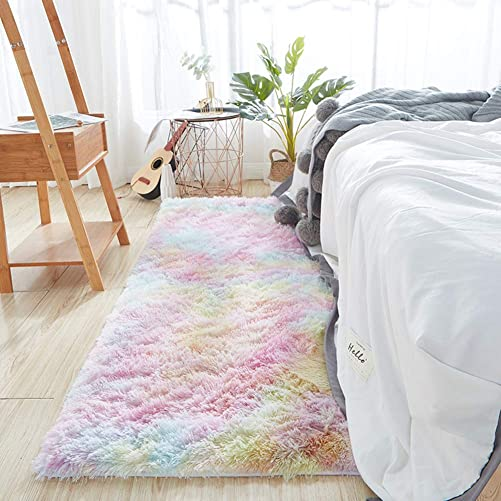 WHDMNet High Pile Living Room Carpet Rug,Ultra Soft Plush Bedroom Area Rug,tie-dye Bedside Fluffy Rug,Furry Shag Washable Anti-Skid Shaggy Rug Rainbow 200x300cm 79x118inch