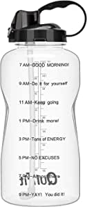 QuiFit Motivational Gallon Water Bottle - with Straw & Time Marker BPA Free Reusable Large Capacity Leakproof Water Jug for Fitness Camping Outdoor Sports