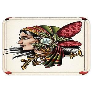 VROSELV Custom Puerta mattrippy Art Decor Cubierta Tarjeta gamefemale Lady con Nativo Americano de Plumas de Cabeza Boho gráfico Multi