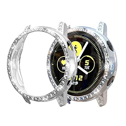 KPYJA Compatible with Samsung Galaxy Watch Active Case, PC Bumper Protective Cover Women Girl Bling Shiny Crystal Rhinestone Diamond for Galaxy Watch ...