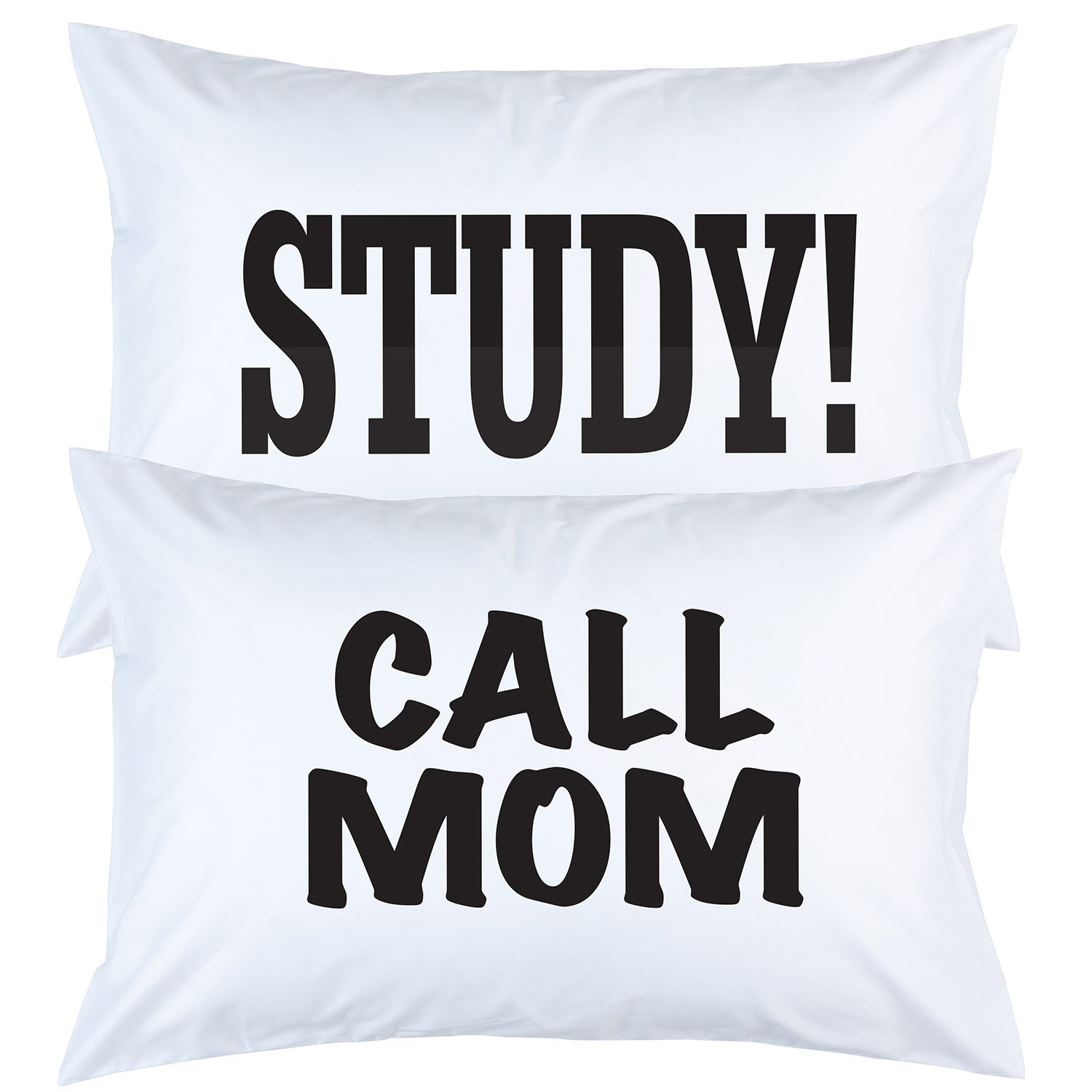 Study or Call Mom Pillow Case Funny Graduation Gifts College Dorm Room Bedding and Accessories for Girls or Boys 2 Sided Print