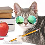 Fashionable Pet Dogs Cats Foldable Glasses Cool Stylish and Funny Cute Pet Sunglasses Eye-wear Protection Classic Retro Circular Metal Prince Sunglasses for Cats or Small Dogs (Blue)
