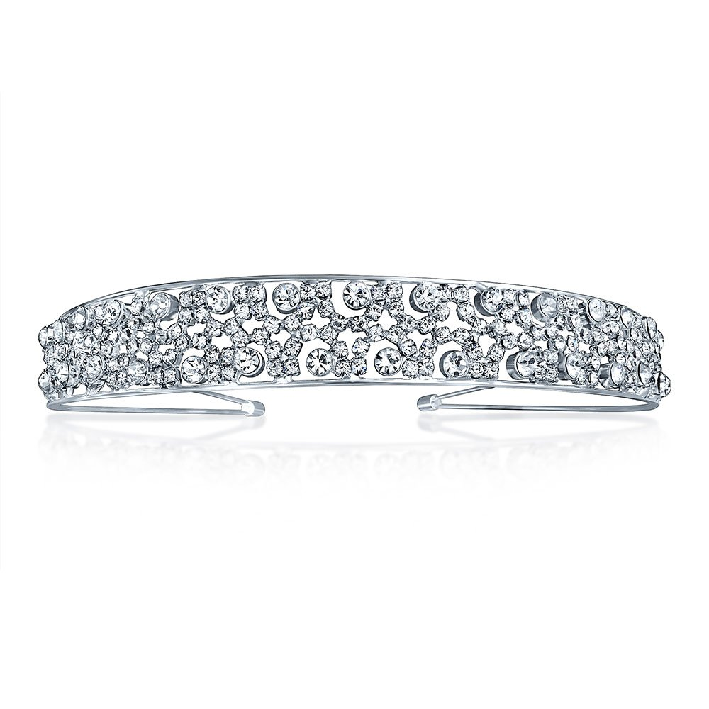 Bling Jewelry Rhinestone Laced Design Bridal Tiara Headband Silver Plated TK-RT-C10358