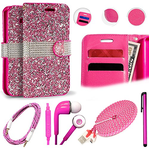 QCO WIRELESS Premium Wallet Folio + 6ft USB Cable + Aux + In-Ear Stereo Headset & Stylus Pen Kit for Coolpad Defiant (MetroPCS/Boost) (Diamond Wallet Flip Case – Pink)