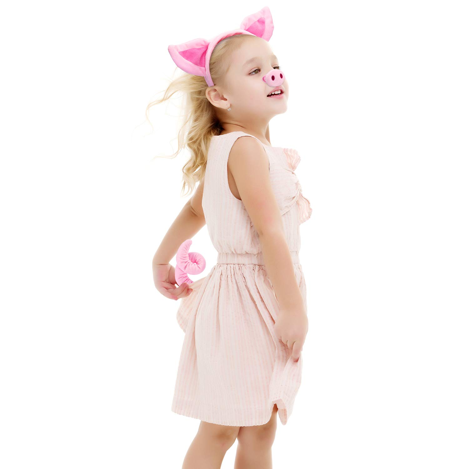 Animal Costume Set Animal Ears Nose Tail and Bow Tie Animal Fancy Dress Costume Kit Accessories for Kids Lion Costume