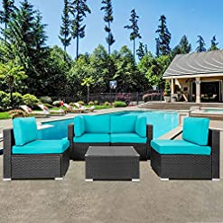 Garden and Outdoor Shintenchi Wicker Rattan Outdoor Patio All Weather Furniture w/Removable Cushions – 5 Pieces Set: Sofa Set & Tea Table… patio furniture sets