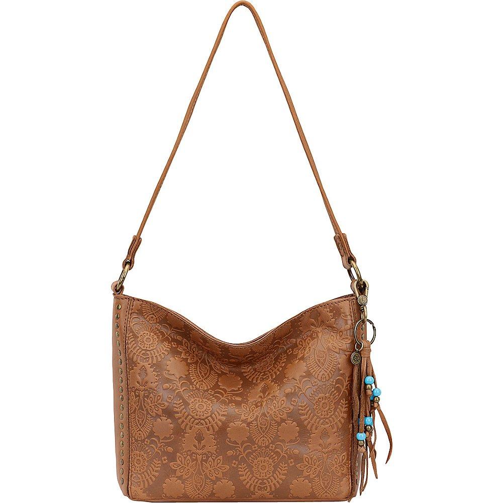 The Sak Indio Leather Demi Shoulder Bag (Tobacco Floral Emboss)