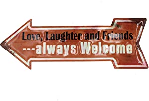Love,Laughter and Friends Always Welcome Rustic Metal Arrow Hanging Home Decor Wall Decor