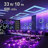 Onforu 33ft LED UV Black Light Strip Kit, 600 Units UV Lamp Beads, 12V Flexible Blacklight Fixtures, 10m LED Ribbon, Non-Waterproof for Indoor Fluorescent Dance Party, Stage Lighti