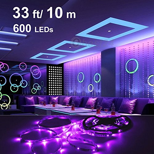 Onforu 33ft LED UV Black Light Strip Kit, 600 Units UV Lamp Beads, 12V Flexible Blacklight Fixtures, 10m LED Ribbon, Non-Waterproof for Indoor Fluorescent Dance Party, Stage Lighting, Body Paint by Onforu (Image #1)'