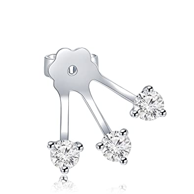 b424d9b6428fc Amazon.com: MaBelle 18K White Gold Diamond Three Claws Single Stud ...