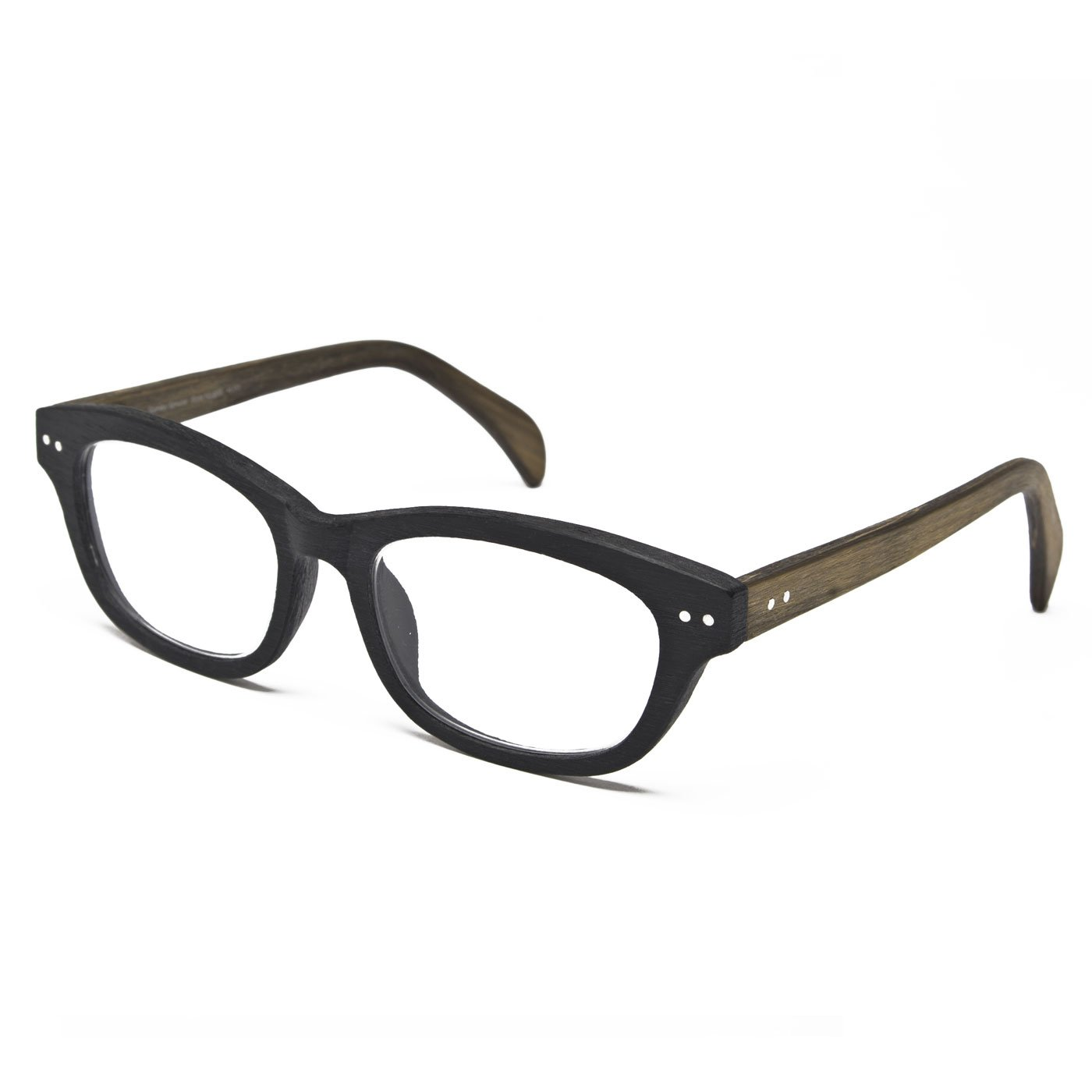 Seymour and Smith Stanley Spruce Reading Glasses For Men and Women (Black Charcoal with Natural Temples, 1.25)