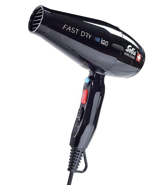 Solis - Secador de pelo, 3 niveles de temperatura y ventiladores, botón de aire frío, motor de AC, 2200 W, tecnología de iones, Fast Dry (tipo 381): ...