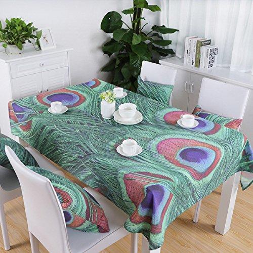 vert 140200cm (55.178.7in) Nappe Cloth courirners Table de thé Tissu Accueil Nappe Impression Coton Coton Décoration de la maison Tissu de Table Wearable Rectangulaire (Couleur  Vert, Violet) DIT