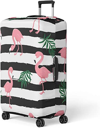 Baggage Covers Tropical Leaves Pattern Pink Flamingo Washable Protective Case