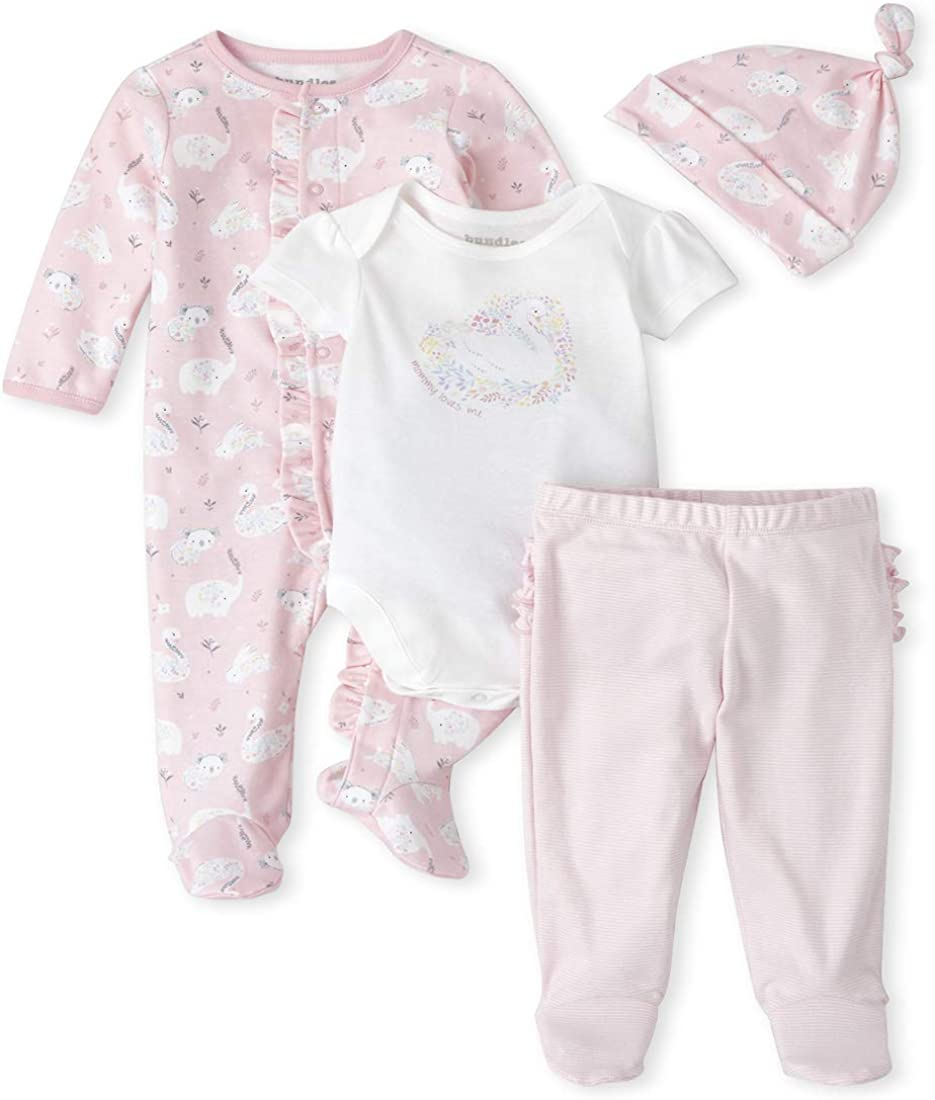 The Childrens Place Baby Girls Floral Swan 4-Piece Take Me Home Set