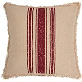 Cheap VHC Brands Farmhouse Holiday Throws-Vintage Burlap Stripe White 18″ x 18″ Pillow, Red