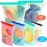 FYLINA Reusable Silicone Food Bags [6 Pack] 2xLarge 50oz and 4xMedium 30oz - Leakproof Kitchen Organized Storage Bag Airtight Seal Versatile Silicone bags for Vegetable Liquid Snack Meat Sandwich