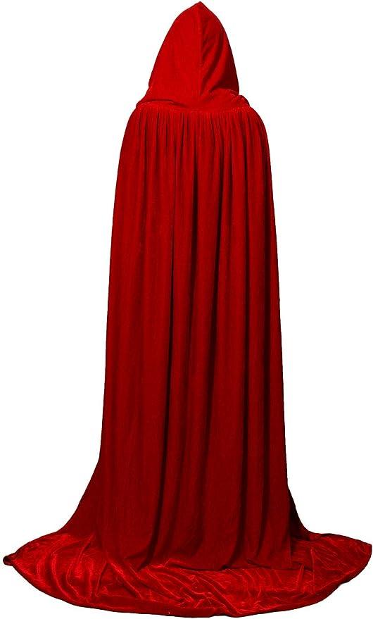 Hooded Velvet Halloween Cloak Cape Wizard Vampire Witch Wedding Gothic Medieval