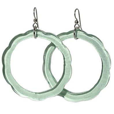 9ab9d7962587ea Amazon.com: Recycled Glass Earrings - Coke Bottle Hoops - Sterling Silver:  Dangle Earrings: Jewelry