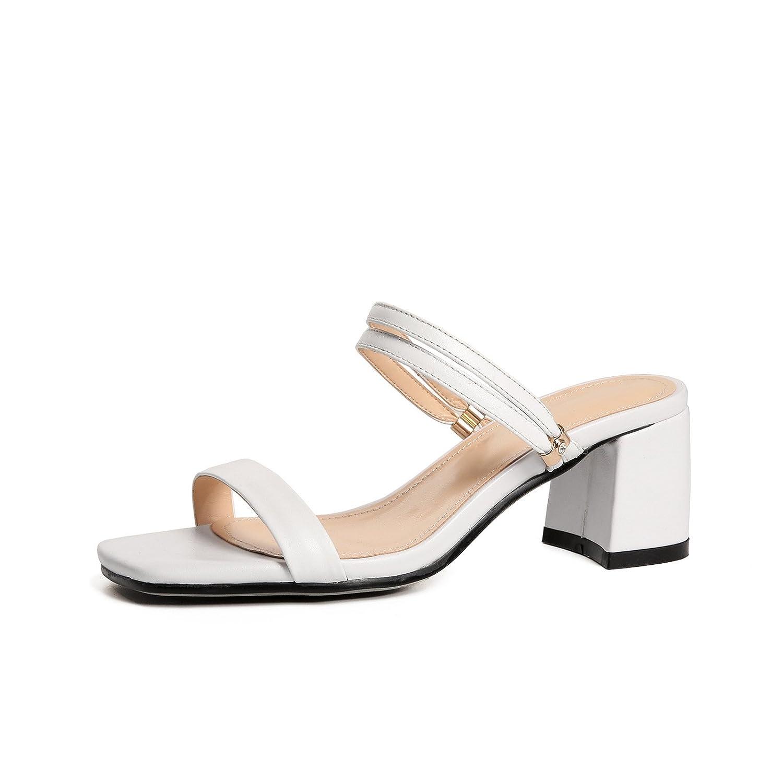 Zapatos de mujer New Look Mujeres Sandalias de punta abierta Zapatos de mujer Sandalias de verano PU Comfort Sandalias de tacón grueso Sandalias de moda Sandalias de mujer ( Color : Blanco , tamaño : 34 ) 34|Blanco