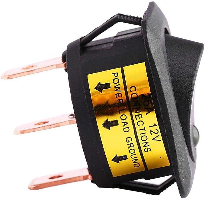 Keenso 4stk 12v 25a Auto Rocker Runde Schalter Led Schalter Led Dot Licht Spst On Off Rocker Kippschalter 3 Pin Gelb Auto