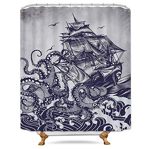Riyidecor Kraken Attack Shower Curtain Octopus Sail Boat Nautical Waves Steampunk Sea Monster Blue Hand Drawing Bathroom Decoration Fabric for Bathtub 72x84 Inch Included 12-Pack Plastic Shower Hooks