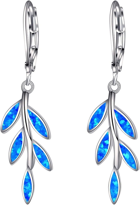 blue flowers earrings flowers with leafs jewellery dangle drop earrings summer design for her