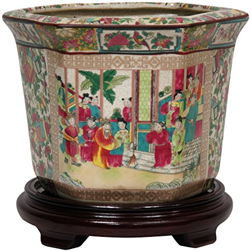 "Oriental Furniture 10"" Rose Medallion Porcelain Flower Pot"