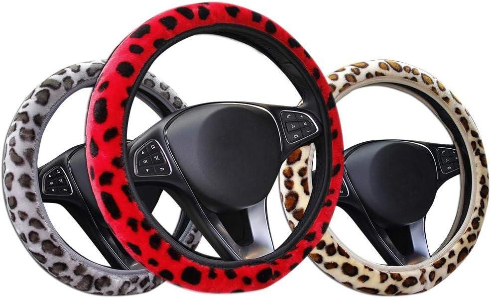 Leopard Print Plush Elastic Section DIY Car Steering Wheel Cover Reatzhen Cheetah Print Steering Wheel Covers