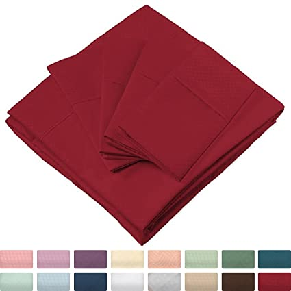 Elegant Bed Sheets   Queen Size, Burgundy (Dots)   Luxury 6 Piece Hotel