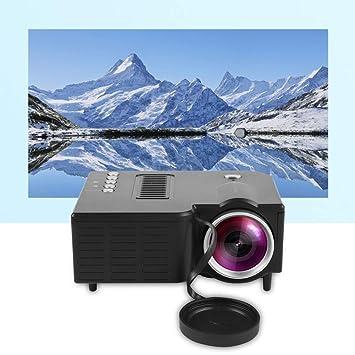 Bewinner Proyector portátil, HD 1080P LED Mini proyector de cine en casa con cable 400 Lux Compatible con HDMI / VGA / AV / USB / SD y enchufe europeo ...