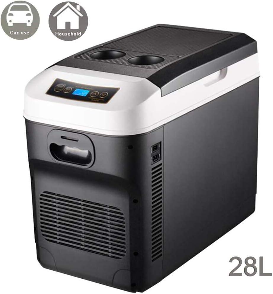 Nevera Neveras Congelador Refrigerador De 28 litros para Autos con refrigerador y Calentador, Caja portátil para refrigerar, refrigerador eléctrico,12V/24V Mini congelador para Autos de Viaje
