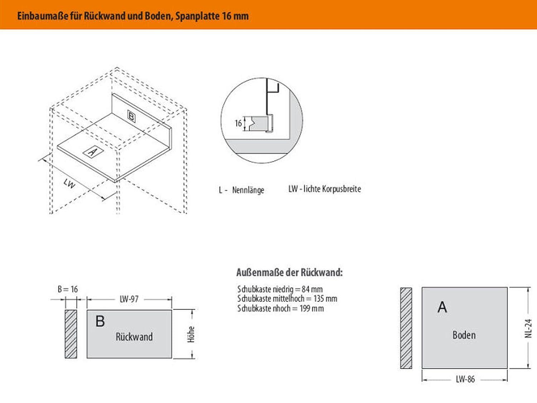 SO-TECH/® Schubkastensystem wei/ß H/öhe 135 mm Tiefe 550 mm Schublade Schubkasten
