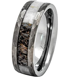 Tusen Jewelry 8mm Tungsten Ring Polished Finish Deer Antler Inlay