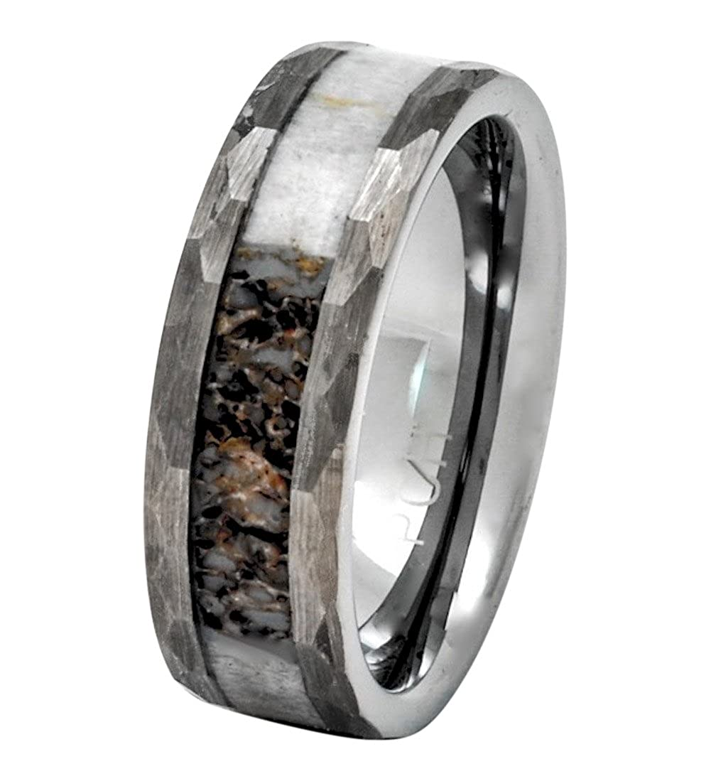PCH Jewelers Deer Antler Ring Tungsten Hammered Finish 8mm Wedding Band or  Gift