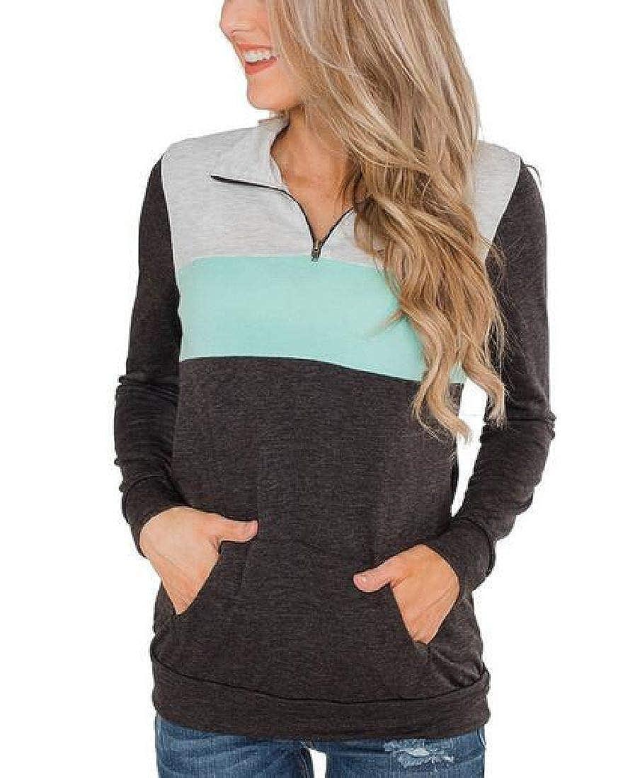 Fubotevic Womens Casual Sport Contrast Zipper Sweatshirt Long Sleeve Sweatshirt