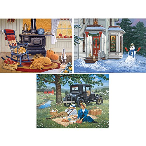 Bits and Pieces - Set of Three (3) 300 Piece Jigsaw Puzzles for Adults - Season Collection - 300 pc Spring, Fall and Winter Jigsaws by Artist John Sloane
