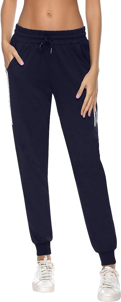 Aibrou Pantalones Chándal Raya Mujer Algodón Largos Pantalon para Deportivo Yoga Fitness Jogger Casual: Amazon.es: Ropa y accesorios