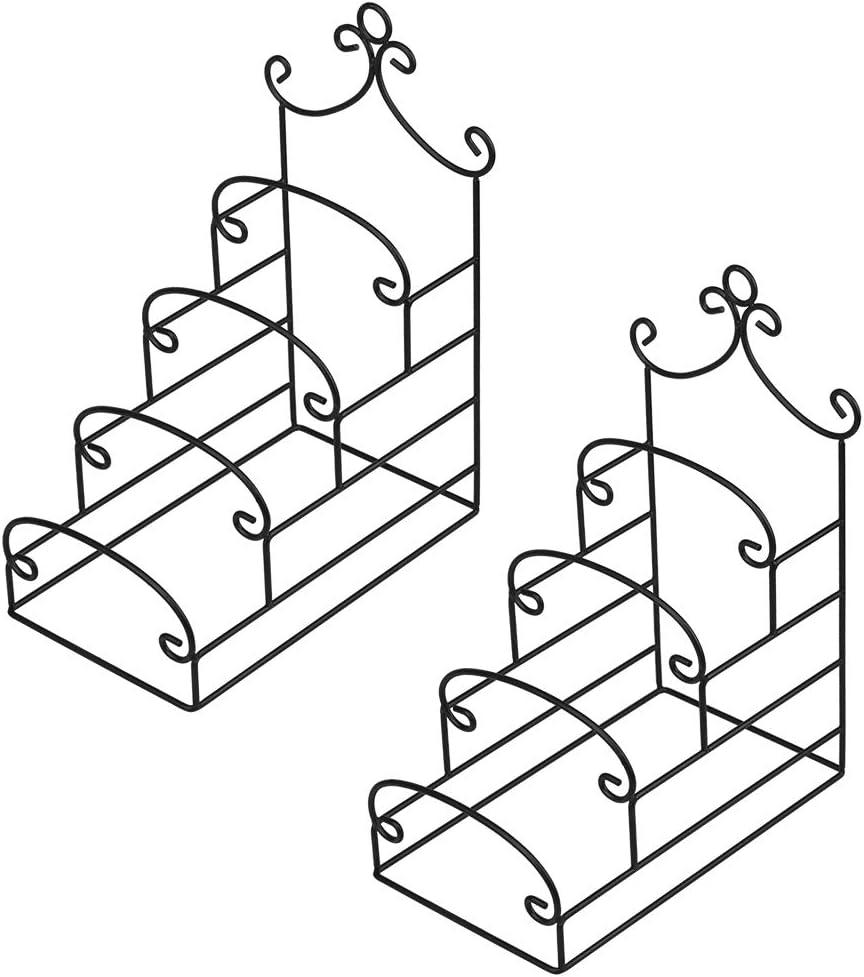 Artliving 4-Tier Metal Scrollwork Dish Rack Plate Rack Display Stand Holder Cabinet Organizer Set of 2