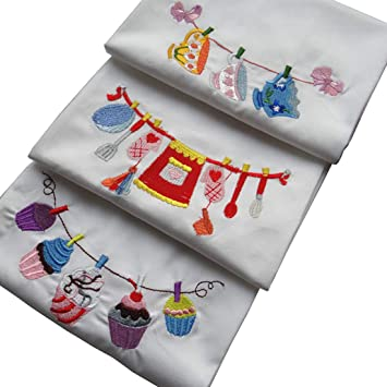Triseaman Linda Algodón Dibujos Animados Bordado Servilleta Toalla de Cocina Pequeño Mantel 45 X 70CM Grupo of 3: Amazon.es: Hogar