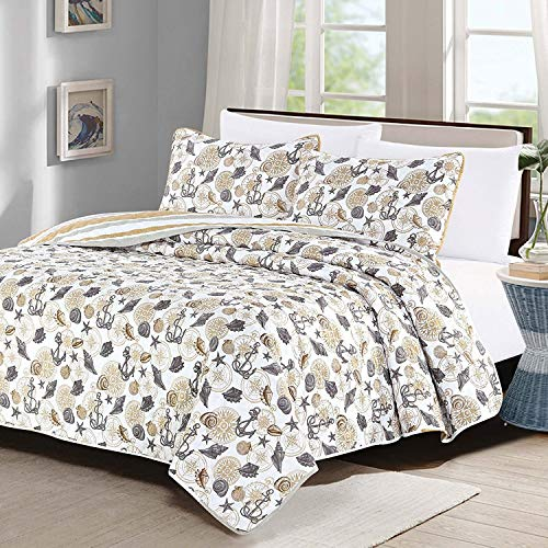 Full/Queen Quilt 3 Piece Set Coastal Anchor Seashell Coverlet Bedspread - Gray and Tan