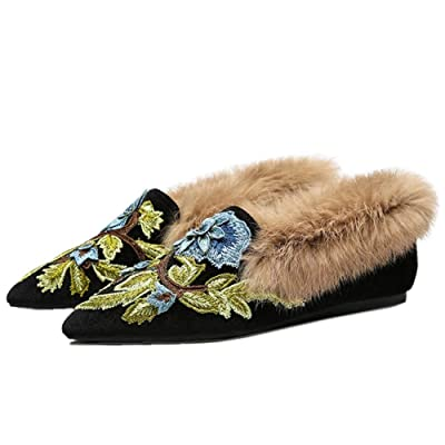 Slip On Loafers, Womens Embroidery Mule Shoes with Plush Lamb Fur Velvet Backless Pointed Toe Mule Slides | Slippers