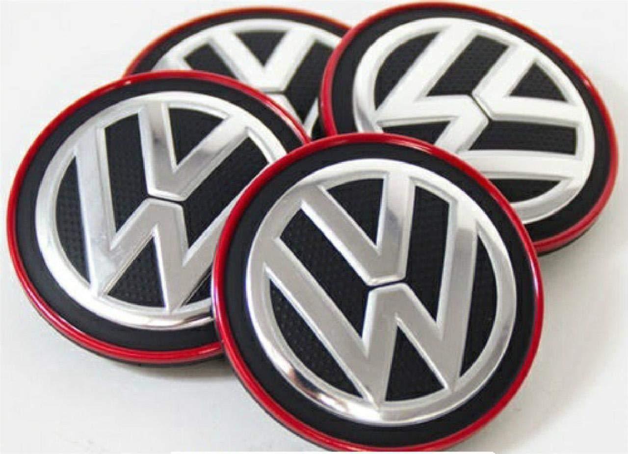 Juego 4 Piezas x Tapas Centro Ruedas Llantas de Aleaci/ón Borde Cromado//Rojo VAG Recambio Original Volkswagen 5G0601171BLYC
