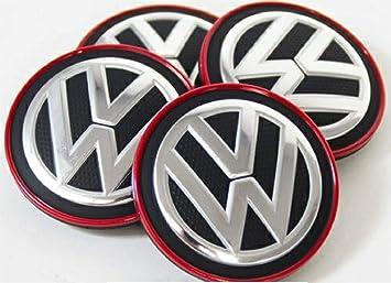 VAG Recambio Original Volkswagen - Juego 4 Piezas x Tapas Centro Ruedas Llantas de Aleación (Borde Cromado/Rojo), 5G0601171BLYC: Amazon.es: Coche y moto