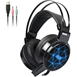 Cuffie Gaming,Hizek Cuffie da Noise Cancelling Stereo Bass 3.5mm Gioco Video Cuffia Gaming con LED per Xbox One, Xbox One S, Portatili, Mac, Tablet e Smartphone