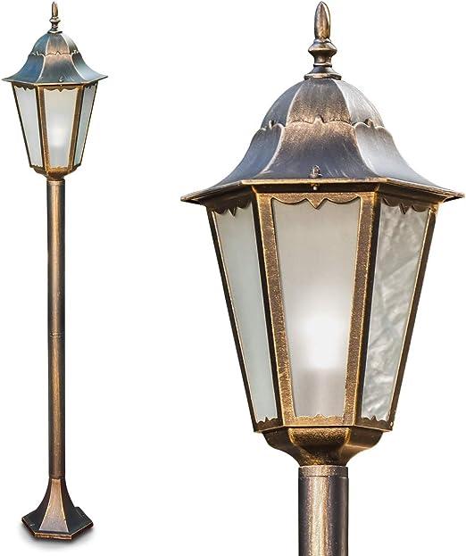 Exterior Lámpara de pie Hong Kong Frost de metal marrón de oro con leche Cristal – Clásica poste para jardín – exteriores – IP44: Amazon.es: Iluminación