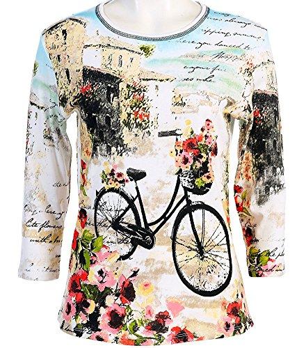 Jess & Jane - Floral Bicycle, 3/4 Sleeve, Scoop Neck, Cotton Rhinestone Print (Jane Cotton Printed Top)