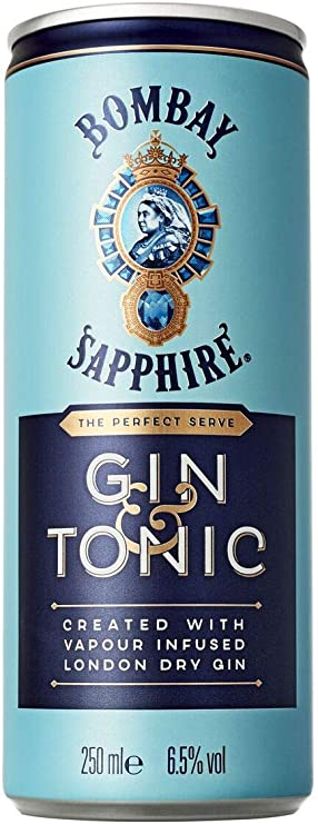 GIN TONIC BOMBAY SAPPHIRE EN UNA LATA DE 12 X 25 CL.